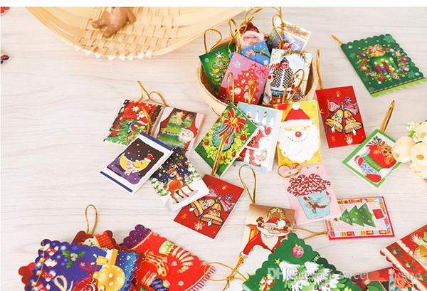 2018 sıcak Noel Kartları Baskılı Noel Süsler Dileğiyle Kart Tatlı Dilek Doğum Günü Çocuklar Hediye Için Perakende Paketi Ile Güzel