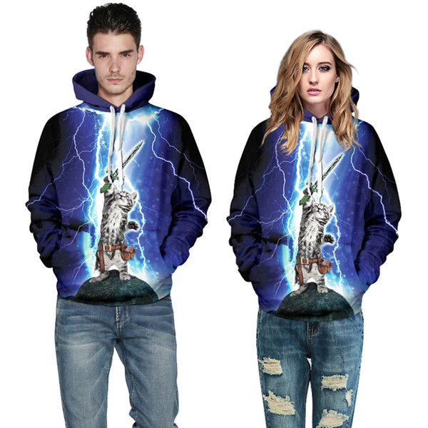 2016 new 3d digital men hoodies sweatshirts will printing adorable cat swordsman plus size casual hooded hooded cloak lovers couple clothes