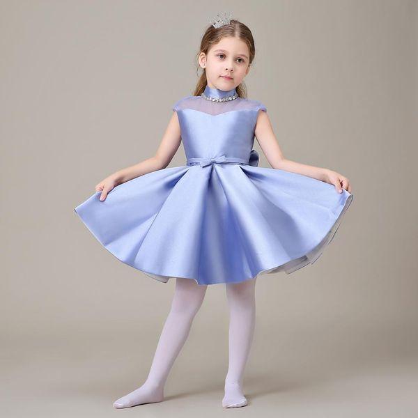 Vestidos de chica de flor azul claro para bodas cuello alto hasta la rodilla Cap manga primeros vestidos de comunión para niñas Vestido de otoño de invierno grueso