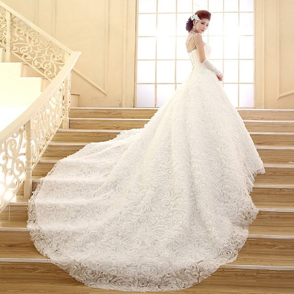 Shanghai Story Wedding dress vestidos new Korean long tailed Strapless Lace the trailing nuptial dress pregnant women can be customized