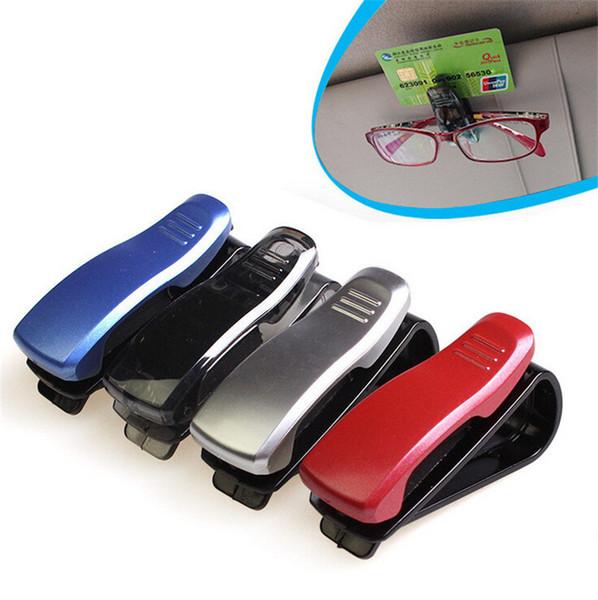 Accessoire de voiture universel pare-soleil noir / argent / rouge / bleu Lunettes de soleil Lunettes de vue carte porte-stylo Clip 50pcs / lot livraison gratuite