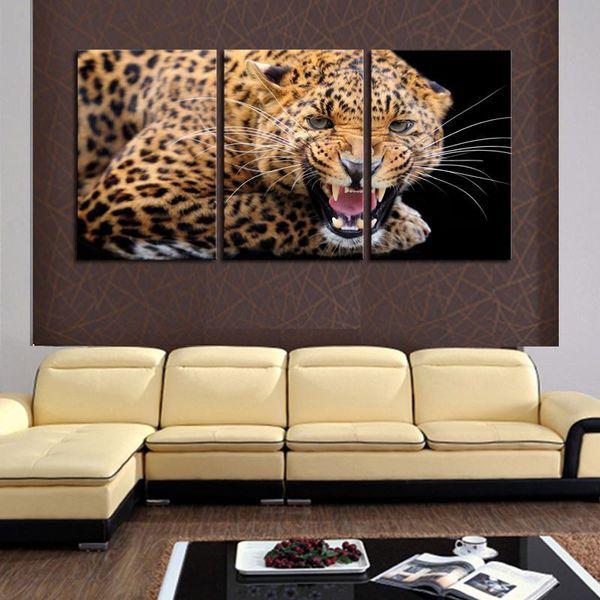 Unframed 3 Panel Ferocious Leopard Canvas Painting Art Cheap Picture Home Decor su tela Modern Wall Prints Opere d'arte
