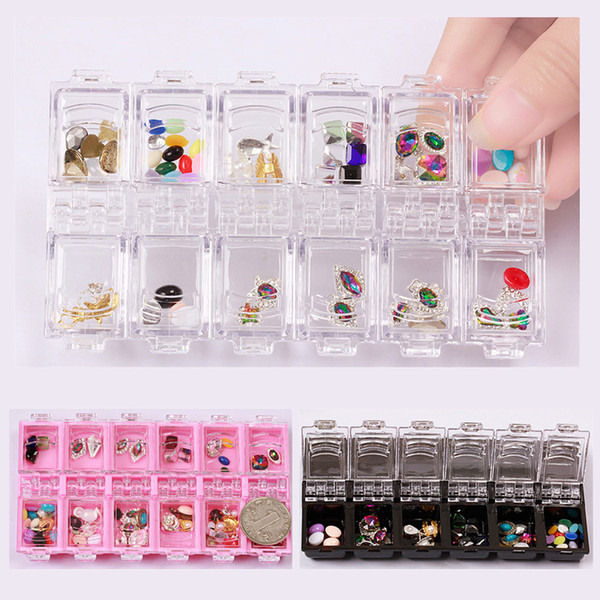 12 Grid Nail Art Clear Empty Rhinestone Acrylic Storage Box Crystal Bead Gem Jewelry Earring Ring Accessory Pills Container Case