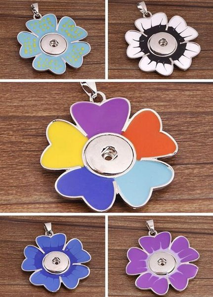 Mix Colors Jewelry charms Pendant Flower necklace Snap Noosa DIY Pendant Jewelry Valentine,s day gift with Interchangeable Jewerly