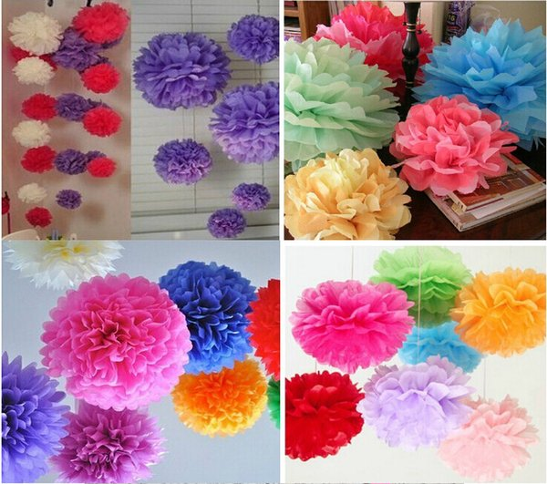 """Fedex Free shipping Wholesale Hand made Pom Blooms 10"""" 25cm Tissue Paper Poms Wedding Party Decoration Flower Balls PF01"""