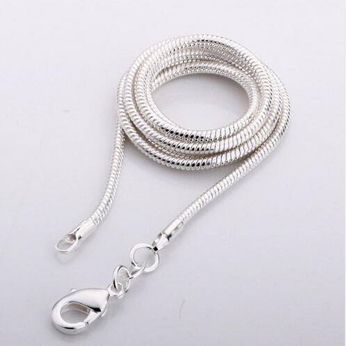 Grosses soldes! 925 collier en argent sterling serpent 2mm, chaîne en argent collier, bijoux en argent, en gros chaîne de mode collier 20pcs