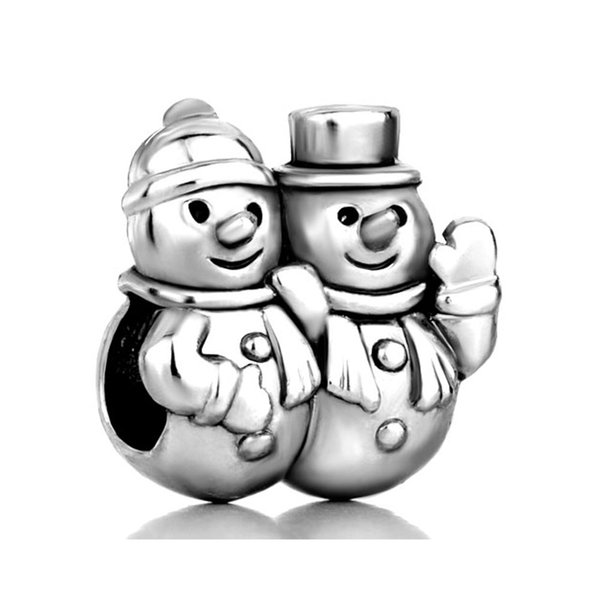 10pcs per lot metal with plating Merry Christmas two Snowmen European bead charm Fits Pandora Bracelet