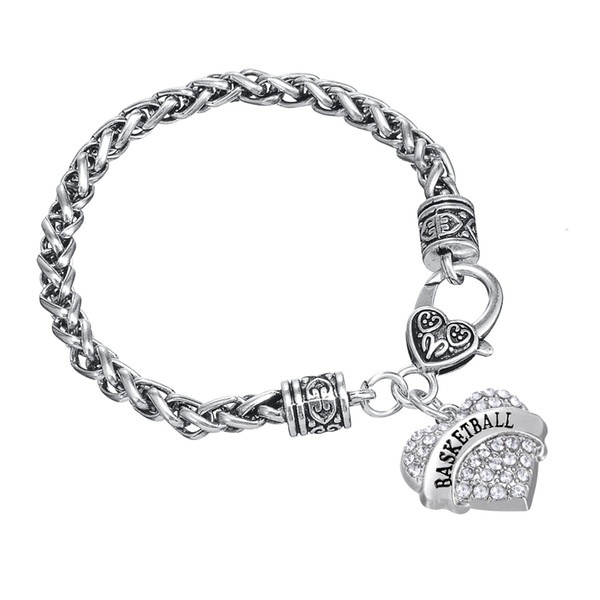 Sweet Heart Crystal Wire Thick Bracelets Word Basketball Charm Bangles Twisted Chain DIY Bangle 30pcs/lot Friendship Jewelry