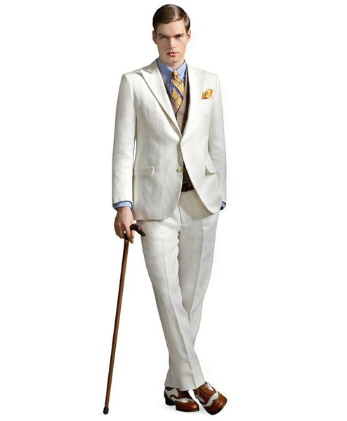 ivory casual linen men suits peaked lapel tuxedos Wedding suits for Men two button Grooms suits 3 piece Suit (Jacket+Pants+vest>