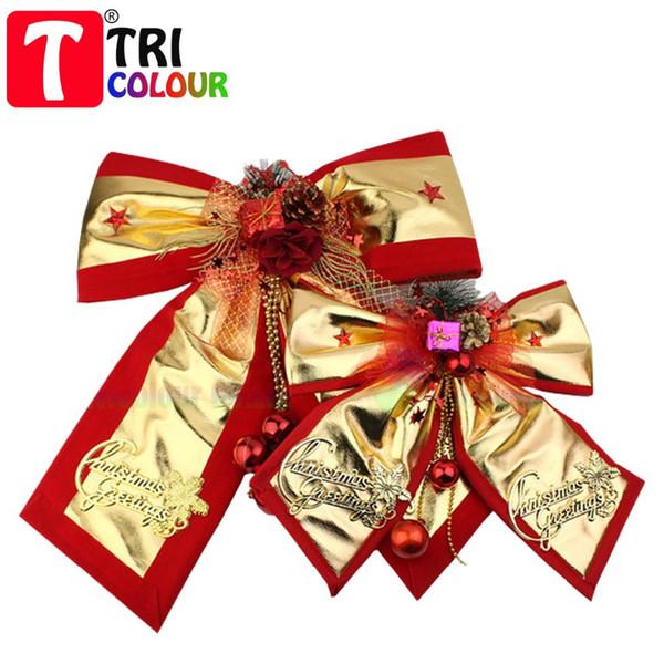 Natale oro e rosso bowknot / arco farfalla per Chrismas albero decorazione ornamento Bowknot panno arte pendente 10 cps / lotto # LS441
