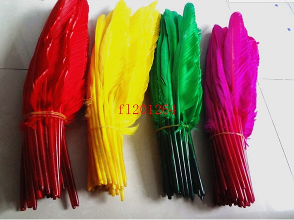 best selling 200pcs lot Free shipping DIY Popular goose quill pen ballpoint pens For Wedding Party Gift pen