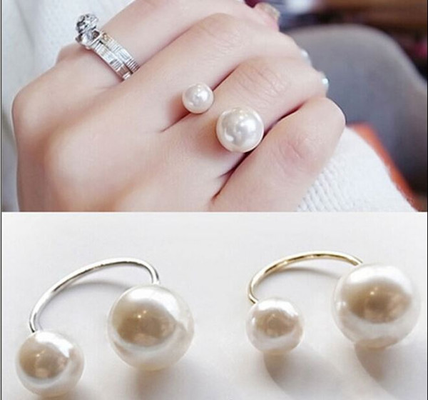 Promotion Korean Elegant Women 18KG Plated Korean Lovely Girls Simulated Pearl 18KGP Opening Adjustable Ring EH078