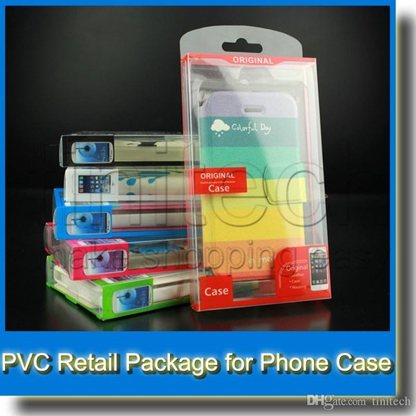 PVC Universal Retail Plastic Transparent Packaging Crystal Box for Samsung S5 S4 Note 3 iPhone 4 5S 6 Cell Phone Leather Wallet Case