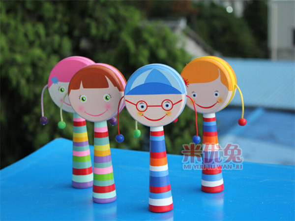 10pcs 2015 new arrive popular china rattles baby toys hand-shaking drum pull rattle auspicious in stock now D120