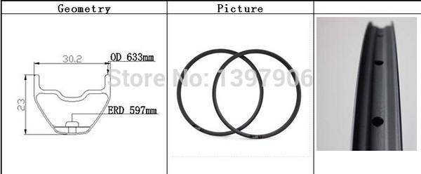Neuer Fabrikpreis super leichter starker Carbon 29 Zoll mtb hookless Rand 30.2X23MM für moutain Fahrrad