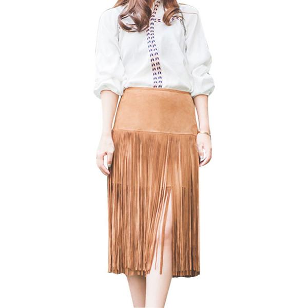 2016 Nouveau Printemps Et Été Bohême Jupe Tassel Suede Jupe Femmes Camel Maxi Jupe Taille Haute faldas Plus La Taille Sexy Jupes