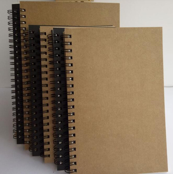 Portable Business kraft papers Notepads black drawing sketch Notebook Spiral 100 pages journal notebooks school office suppliers notes book