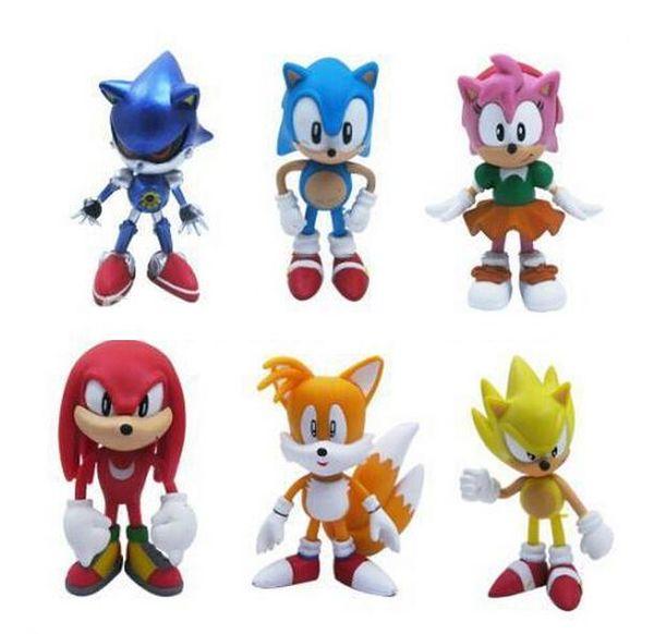 1 Set Retail 6Pcs/set Anime Cartoon Sonic The Hedgehog Figure Action Set Doll Toys Free Shipping
