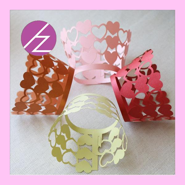 2015 60pcs Laser Cut Lace Heart Cupcake Wrappers /Wraps Wedding Party Birthday Baby Shower Decoration