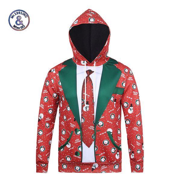 Wholesale- Mr.1991INC Nova Moda Com Capuz de natal Hoodies 3D Homens / Mulheres Outono Inverno Tops Estilo Fino Tintas 3D Camisolas Unisex Pullovers