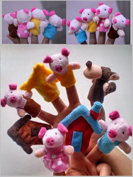 top popular DHL Fedex Finger puppet Three Little Pigs and the Wolf Finger Puppets Toys Story Preschool Toy Plush cloth toys dolls 2021