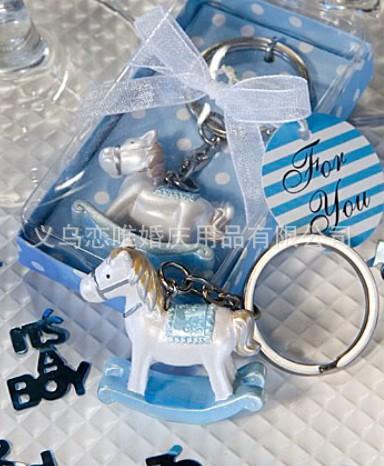 DHL 50pcs llavero del caballo del llavero del recuerdo del bebé para el bebé nacido regalos obsequios de la boda para el invitado 1203 # 03