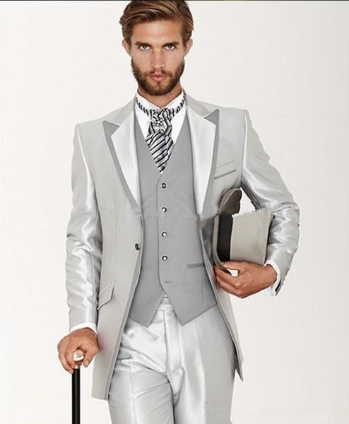 Shiny Silver One Button Groom Tuxedos 2015 Hot Mens Suits For
