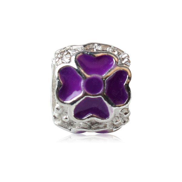 Purple Painted Lucky Clover Heart Charm Bead Big Hole Fashion Women Jewelry European Style For Pandora Bracelet