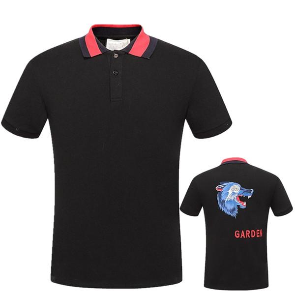 Camiseta de manga corta para hombre de verano 2019, patrón de bordado de la cabeza de tigre coreano, camisa de polo de solapa, abrigo de tendencia Camiseta casual para hombre