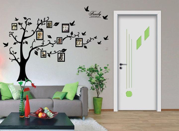 Freies Verschiffen: Große 200 * 250 Cm / 79 * 99in Schwarz 3D DIY Foto Baum PVC Wandtattoos / Adhesive Familie Wandaufkleber Wand Kunst Home Decor