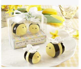 Envío libre + Mommy and Me Sweet como can Bee Beeper Ceramic Honeybee Shakers 400pcs = 200Set / Lot favores de la ducha de bebé y regalos