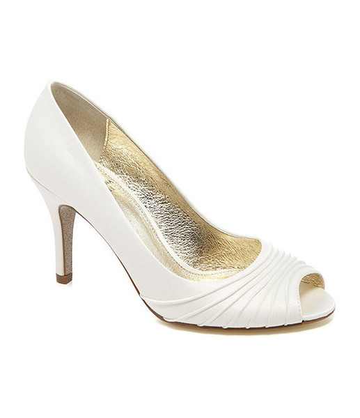 2016 White Wedding Shoes For Bridal 3'' High Heels Slip On Peep Toe Custom Made Fashion Ladies Party Shoes Sandals Bridal Accessories New