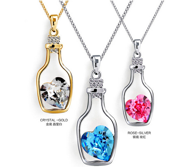 Womens Love wishing bottles Pendant Necklaces Alloy Crystal Fashion Austria Drill Popular Jewelry Necklace Angel Tears Jewelry Free Shipping