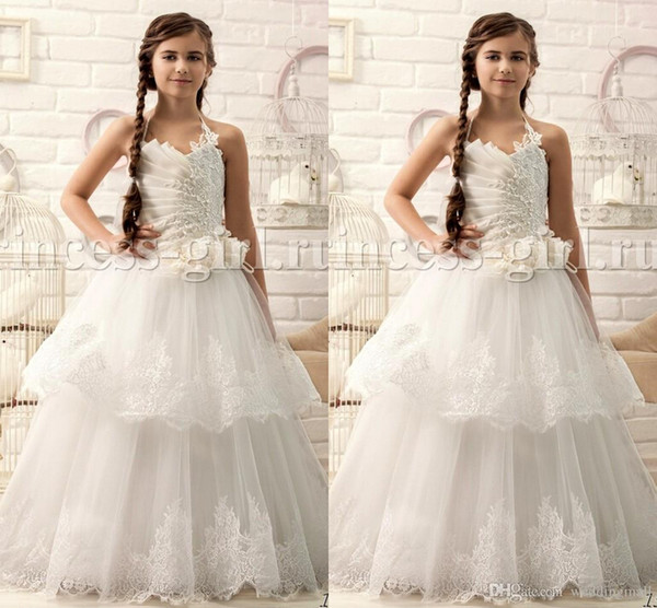 Ivory Beaded Lace Ruffle Halter Ball Gown Vintage Baby Girl Dresses Kids Dresses For Wedding Kids Wedding Dresses Flower Girl Dresses