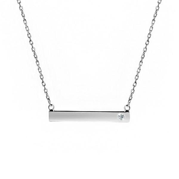 76b4f8b7e European Simple Fashion Women Diamond Jewelry Design For Wedding 925  Sterling Silver Silver Bar Pendant Necklace