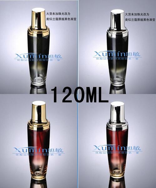 E2 capacidad 120 ml envío gratis 50pcs / lot venta al por mayor de oro de alta calidad loción de vidrio de vidrio esmerilado botella de vidrio para el embalaje cosmético