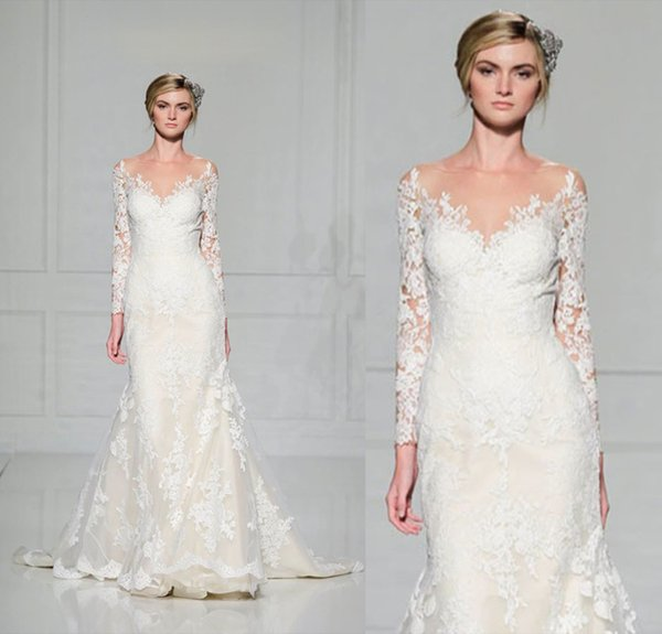 Elegant Ivory Wedding Dresses Long Sleeve Lace Bridal Gowns Reem Acra 2016 Sheath Sheer Neck Court Train Vintage Garden Chapel Custom Made