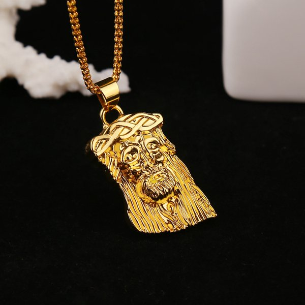 Wholesale New Gold Plated GOD BLESS Jesus Portrait Necklace Men'S Necklace  Long Hip Hop HIPHOP Necklace Jewerly Silver Pendant Necklace Gold Pendant
