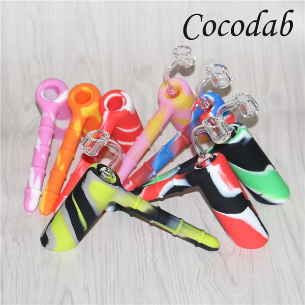 Mini Hammer Water Pipes 18.8mm Joint Silicone Hammer Percolator Bubbler Smoking Pipes silicone blunt bongs + 4mm 18.8mm male quartz nail