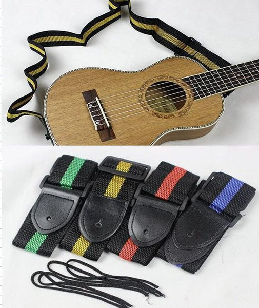 top popular 4 colors for choices 10pcs lot Affordable And Durable Nylon + Leather Guitar Strap Belt Accessory Random Colour 2019