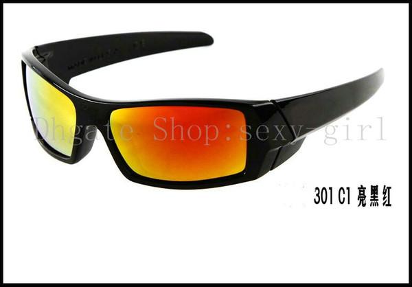 Erkek güneş gözlüğü Parlak siyah çerçeve / Gökkuşağı Lens renkli gözlük Moda Yıldız Sunglass 5pcs / lot sunglass No Case.