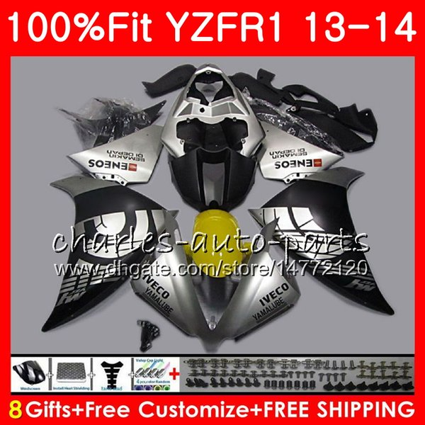 Injection Body For YAMAHA YZF 1000 Matte silver YZF R 1 YZF-1000 YZF-R1 13 14 86NO9 YZF1000 YZFR1 13 14 YZF R1 2013 2014 Fairing kit 100%Fit