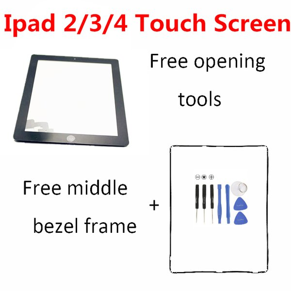 Touch Screen Glass Digitizer Assembly Replacement for Apple iPad 2 iPad 3 iPad 4 free shipping white black