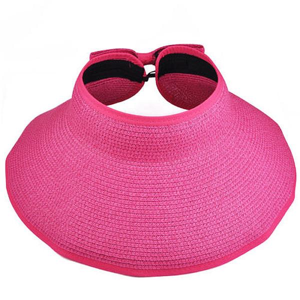 Wholesale-Wholesale prWomens Summer Foldable Beach Sun Visor Wide Brim Hat Cap - Rose