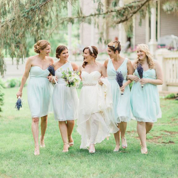 Cheap Mint Chiffon Short Country Bridesmaid Dresses 2017 Three Styles Sweetheart One Shoulder V Neck Knee Length Maid Of Honor Gowns EN11081
