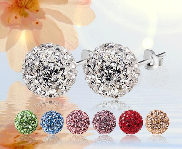 Fashion plating 925 Sterling Silver 6mm 8mm 10mm 12mm CZ Crystal disco ball Stud Earrings mark 925 Mix colors 96pairs/lot