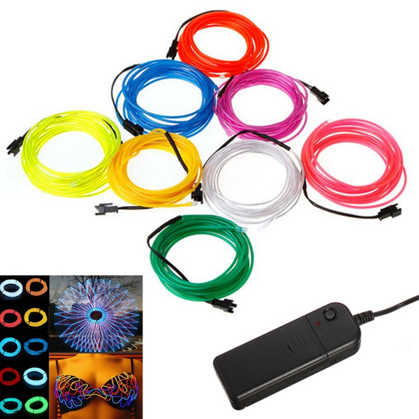 top popular 5M 10 Colors EL Wire Tube Rope Battery Powered Flexible Neon Light Car Party Wedding Decoration With Controller Free Shipping 2021