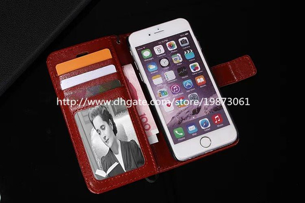 For Galaxy S6 Cases Wallet PU Leather Flip Case Cover Pouch With Card Slot Photo Frame for iPhone 6 Samsung Galaxy S6 Edge