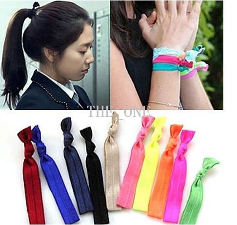 top popular 2014 fold over elastic hair ties bracelet wristbands baby girl ponytail holder Hair Accessories baby girl headband bow free shipping 2021
