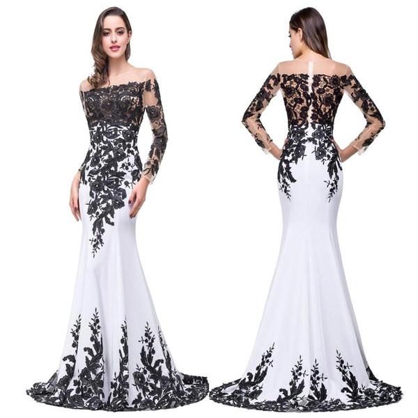 100% foto real nuevo negro blanco formal vestidos de noche 2017 Sheer Jewel cuello mangas largas de encaje apliques vestidos de fiesta de baile BZP0803